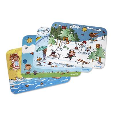 UNICEF placemats, 'Fun Through the Seasons' (set of 4) - UNICEF Fun Children's Placemats (Set of 4)