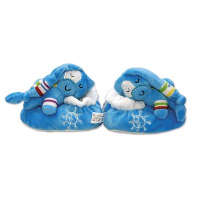 UNICEF baby slippers, 'Plush Pal' (blue) - Blue Plush UNICEF Baby Slippers with Gift Box