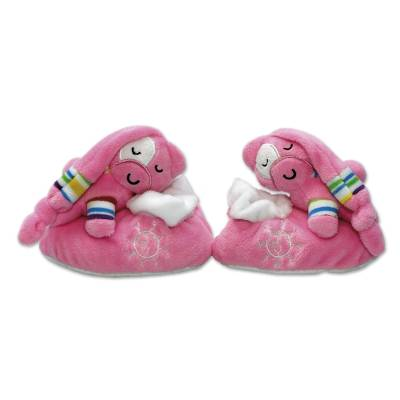 UNICEF baby slippers, 'Plush Pal' (pink) - Pink Plush UNICEF Baby Slippers with Gift Box
