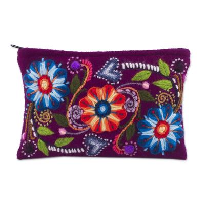 Alpaca blend clutch, 'Magenta Bouquet' - Floral Embroidered Alpaca Blend Clutch in Magenta from Peru
