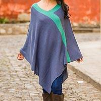 Knit poncho, 'Twilight' - Peruvian Knit Bohemian Drape Poncho in Blue and Green