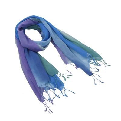 Cotton scarves, 'Summer Morning' (pair) - Handwoven Cotton Scarves in Cool Tones from Thailand (Pair)