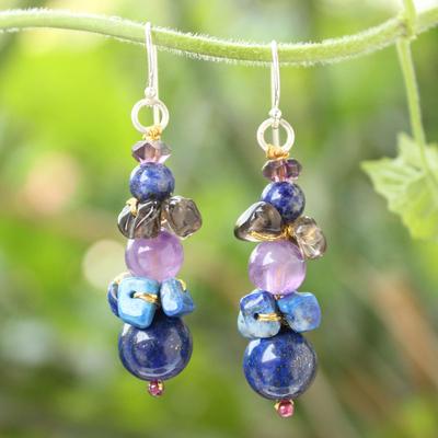Lapis lazuli and amethyst beaded earrings, 'Thai Harmony' - Beaded Lapis Lazuli Earrings