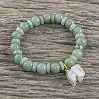 Jade beaded stretch bracelet, 'Jade Elephant' - Jade Beaded Bracelet Handmade in Thailand with Elephant