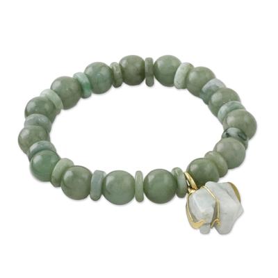 Jade beaded stretch bracelet, 'Jade Elephant' - Jade Beaded Bracelet Handmade in Thailand with Elephant