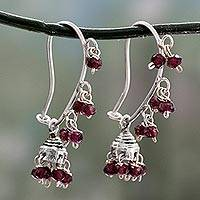 Garnet chandelier earrings, 'Music' - Garnet and Sterling Silver Handcrafted Jhumki Earrings