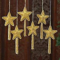 Embroidered ornaments, 'Zardozi Stars' (set of 6) - Indian Embroidered Beaded Gold Star Ornaments (Set of 6)