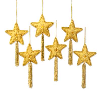Embroidered ornaments, 'Zardozi Stars' (set of 6) - Indian Embroidered Beaded Gold Star Ornaments (Set of 6)