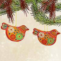 Ceramic ornaments, 'Marigold Christmas Doves' (pair) - 2 Yellow Floral Ceramic Peace Dove Ornaments Crafted by Hand