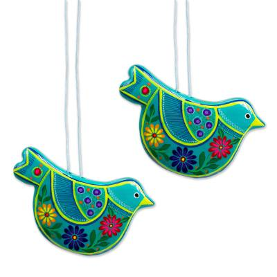 Ceramic ornaments, 'Turquoise Doves' (pair) - 2 Turquoise Ceramic Handcrafted and Painted Ornaments