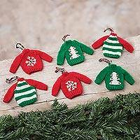 Knit ornaments, 'Holiday Jumper' (set of 6) - Knit Mini Jumper Ornaments from Peru (Set of 6)