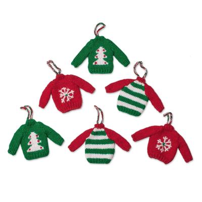 Knit ornaments, 'Christmas Jumpers' (set of 6) - Knit Mini Jumper Ornaments from Peru (Set of 6)