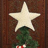 Wool tree topper, 'Sequin Star' - Star Shaped Christmas Tree Top Ornament with Sequins