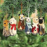 Wool ornaments, 'Cosy Puppies' (set of 6) - Embroidered Wool Dog Ornaments from India (Set of 6)