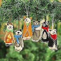 Wool ornaments, 'Cozy Cats' (set of 6) - Embroidered Wool Cat Ornaments from India (Set of 6)