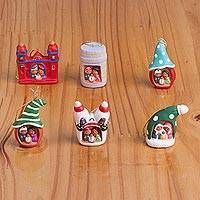 Ceramic ornaments, 'Multicolored Nativity' (set of 6)