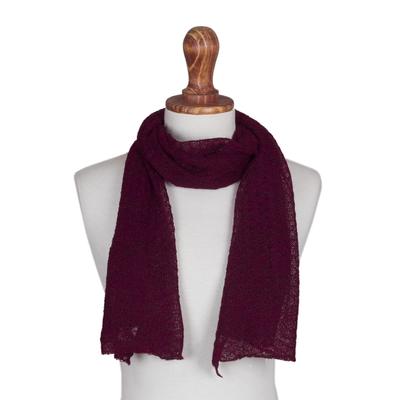 100% baby alpaca scarf, 'Wavy Texture in Wine' - Textured 100% Baby Alpaca Wrap Scarf in Wine from Peru
