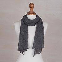 100% baby alpaca scarf, 'Wavy Texture in Slate'