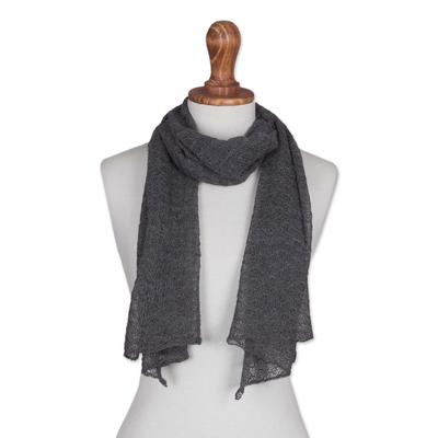 100% baby alpaca scarf, 'Wavy Texture in Slate' - Textured 100% Baby Alpaca Wrap Scarf in Slate from Peru