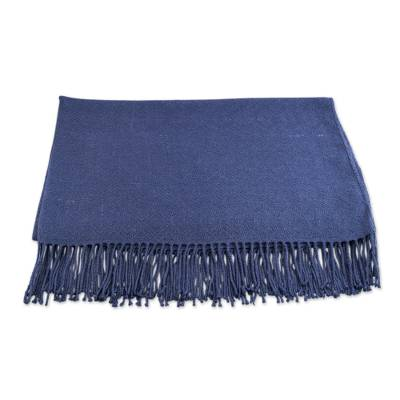 Throw blanket, 'Puno Traditions in Blue' - Alpaca and AcrylicThrow Blanket with Fringe in Cadet Blue