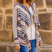 Cotton blend cardigan, Sacred Valley' - Cotton and Acrylic Blend Cardigan from Peru