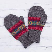 100% alpaca mittens, 'Inca Stripes' - Multicolored Knit 100% Alpaca Mittens from Peru