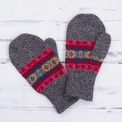 100% alpaca mittens, 'Inca Stripes' - Multicolored Knit 100% Alpaca Mittens from Peru