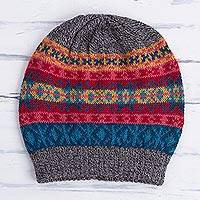 100% alpaca hat, 'Inca Stripes' - Multicolored Knit 100% Alpaca Hat from Peru