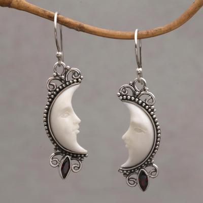 Garnet dangle earrings, 'Natural Moonlight' - Garnet and Silver Crescent Moon Dangle Earrings from Bali