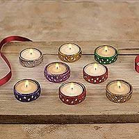 Aluminum and glass tea lights 'Festive Colors' (set of 8)