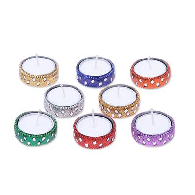 Aluminum and glass tea lights 'Festive Colors' (set of 8) - Sparkling Assorted Colors Resin-Coated Tea Lights (Set of 8)