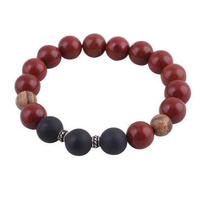 Jasper and onyx beaded stretch bracelet,