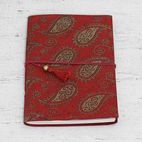 Handmade paper journal, 'Paisley Memories' - 60 Page Paisley Journal with Handmade Paper from India