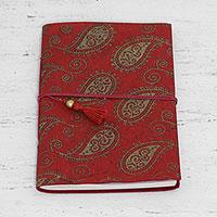 Handmade paper journal, 'Paisley Memories'