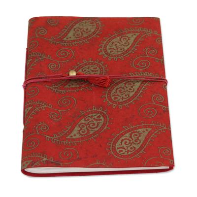 Handmade paper journal, 'Paisley Memories' - 60 Page Paisley Journal with Handmade Paper from India