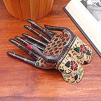 Batik wood ring holder, 'Helping Hands' - Floral Batik Wood Ring Holder from Java