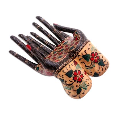 Batik wood ring holder, 'Helping Hands' - Floral Batik Wood Ring Holder from Java
