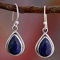Lapis lazuli dangle earrings, 'Blue Teardrop' - Fair Trade Sterling Silver and Lapis Lazuli Earrings