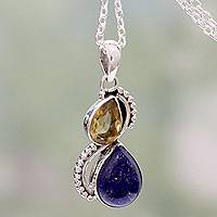 Lapis lazuli and citrine pendant necklace, 'Two Teardrops' - India Silver and Lapis Lazuli Necklace with Faceted Citrine