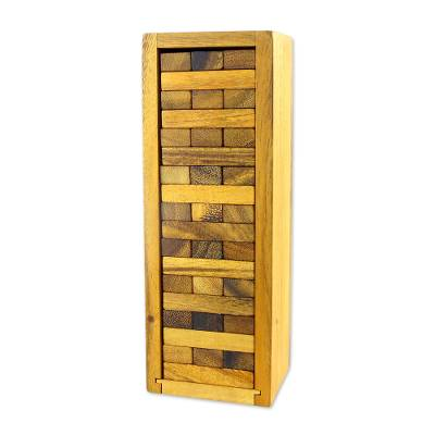 Family wooden game, 'Stacking Tower' - Wood Stacking Tower Game with Box from Thailand