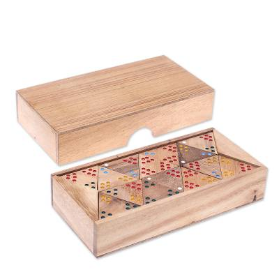 Wood domino set, 'Triple Threat' - Wood 3-Sided Domino Set Crafted in Thailand