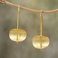Gold plated sterling silver earrings, 'Urban Minimalism' - Modern 18k Gold Plated Sterling Silver Drop Earrings