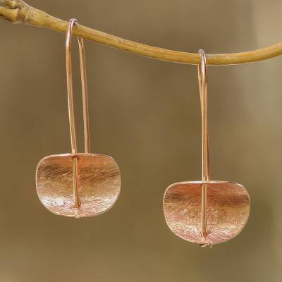 Rose gold plated sterling silver drop earrings, 'Urban Minimalism' - Modern Rose Gold Plated Sterling Silver Drop Earrings