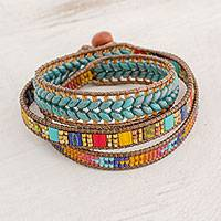 Glass beaded wrap bracelet, 'Country Market' - Multicolored Glass Beaded Wrap Bracelet from Guatemala