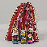 Cotton figurines, 'The Worry Doll Gang' (set of 12) - Set of 12 Guatemalan Worry Dolls with Pouch in 100% Cotton