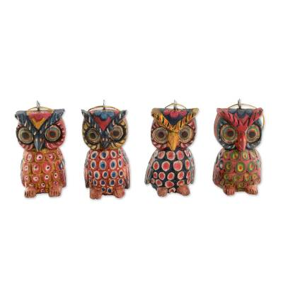 Wood ornaments, 'Celebratory Owls' (set of 4) - Pinewood Owl Ornaments from Guatemala (Set of 4)
