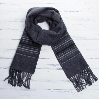 Men's alpaca blend scarf, 'Andes in Storm Clouds' - Fair Trade Woven Dark Gray Alpaca Blend Scarf for Men