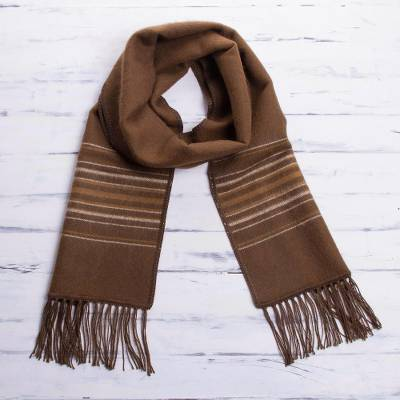 Men's alpaca blend scarf, 'Andes in Autumn' - Men's Artisan Crafted Woven Brown Alpaca Blend Scarf