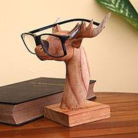 Wood eyeglasses holder, 'Studious Deer' - Jempinis Wood Deer Eyeglasses Holder from Bali