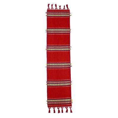 Cotton table runner, 'Highland Paths' - Handwoven Red Cotton Table Runner from Guatemala